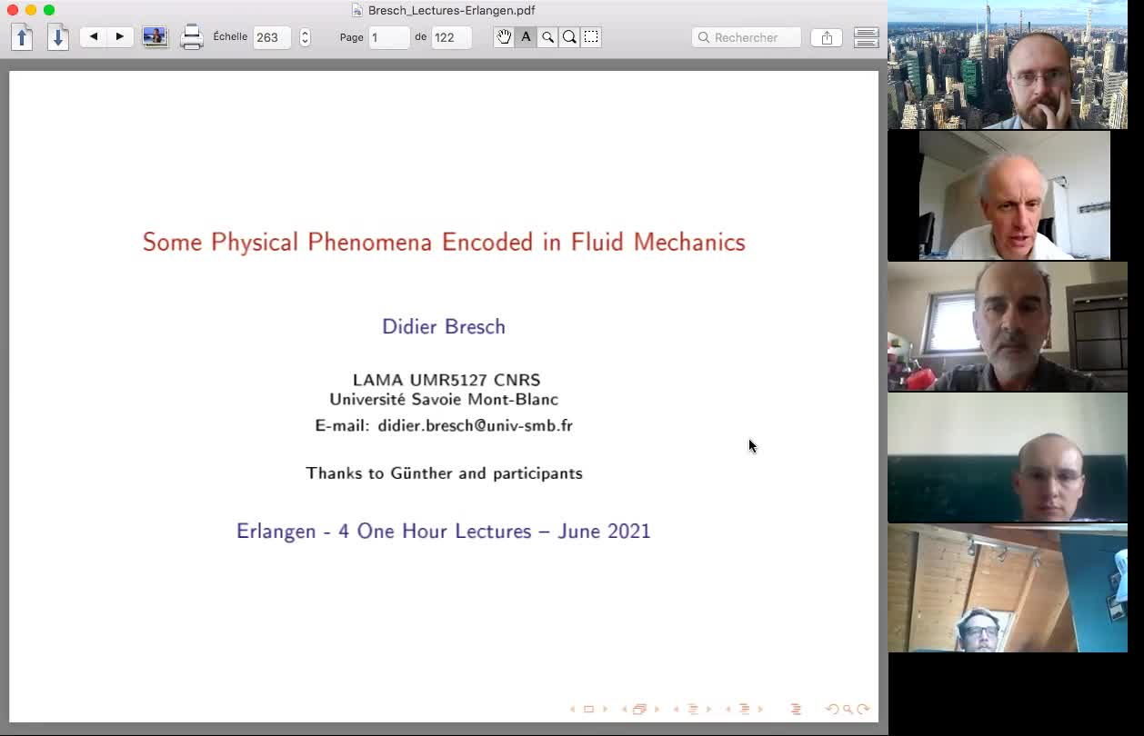 """Lecture series """"Some Physical Phenomena encoded in Fluid Mechanics"""" by Didier Bresch, Part 2"""