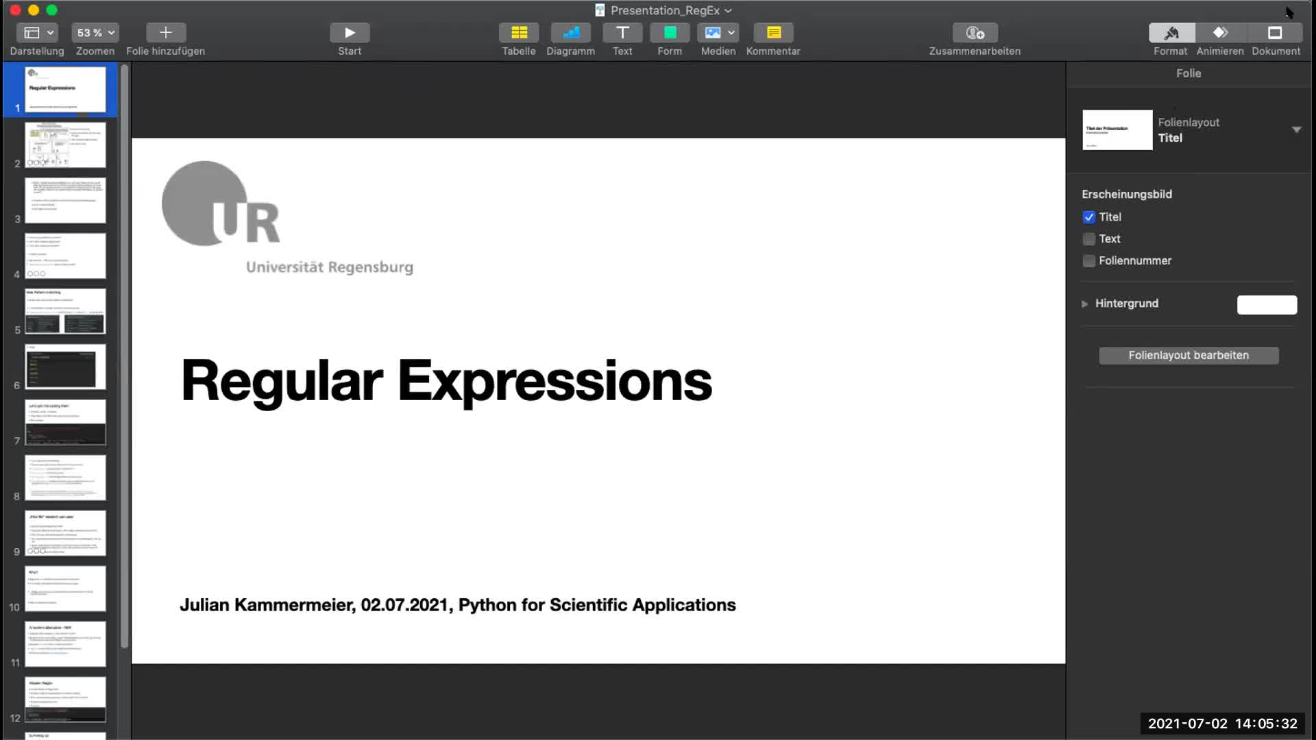 Lecture 10: Seminar RegExes; Parallel Programming
