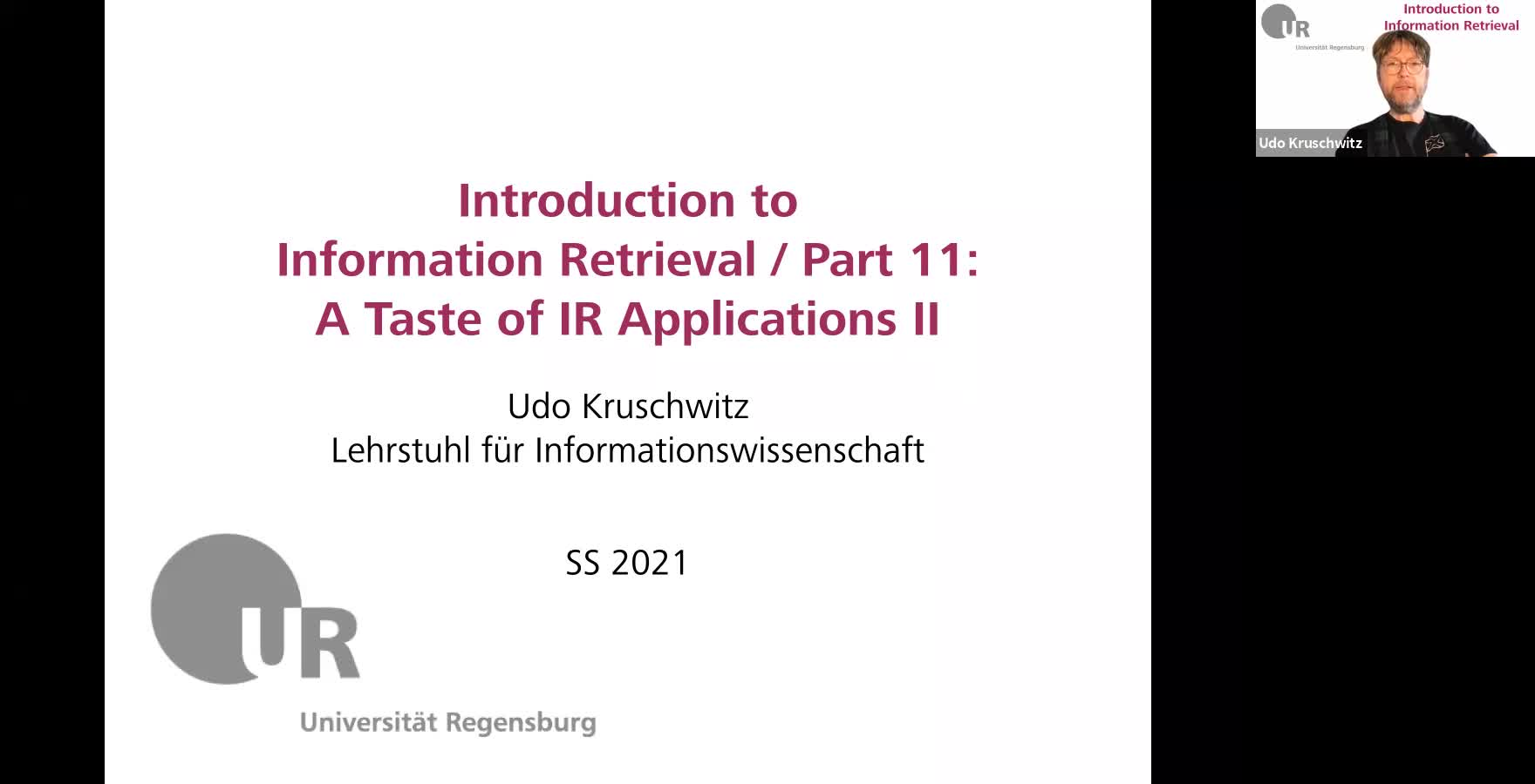 Introduction to Information Retrieval - Lecture 11 (A taste of IR applications II)