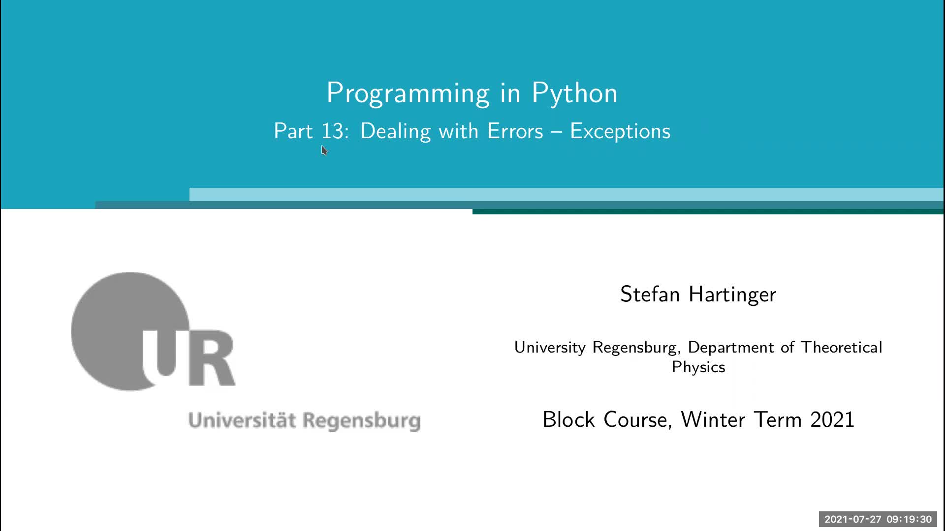 Lecture 07: Dealing with Errors – Exceptions; Mini Project City Simulation